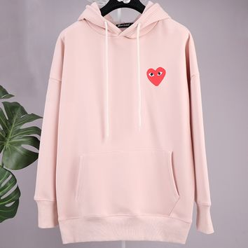 PLAY autumn and winter tide brand plus velvet female loose love print hoodie Pink