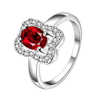 Ruby Red Square Shaped Petite Ring