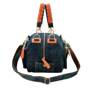 2017 New Casual women denim bag Women small shoulder bags vintage blue jeans crossbody bag ladies purse 2colors bolsa feminina