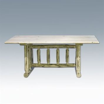 Montana Woodworks Trestle Based Dining Table in Clear Lacquer