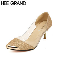 HOT Women Pumps High Quality Fashion PU Leather Thin High-Heel Pumps Woman Shoes Gold, Sliver and Black 119