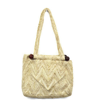 80s Vintage Woven Purse Chevron Stitching Wool and Wood