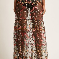Embroidered Sheer Maxi Skirt