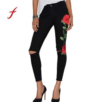 FEITONG Jeans for women Fashion Floral Embroidered Denim Ripped Pants Stretch Jeans Pencil Trousers Casual ripped Black jeans