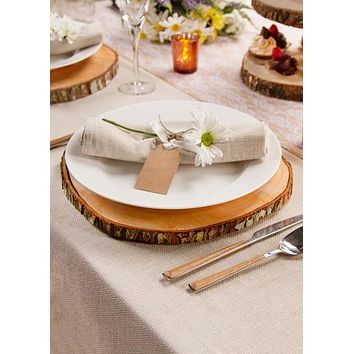 """David Tutera Natural Round Wood Slab Tray for Centerpieces - 12"""" Wide"""