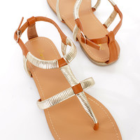 Brown Metallic Wrapped Strappy Sandals Faux Leather