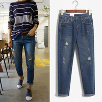 Women Straight Jeans Trousers Pants _ 8165