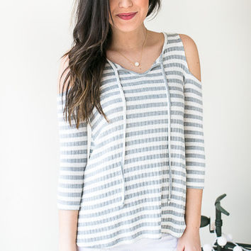 Hello Beautiful Striped Ribbed Cold Shoulder Top - Grey