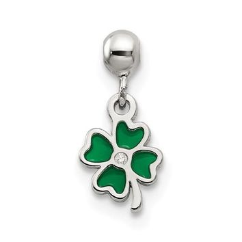 Sterling Silver Mio Memento Enamel With CZ Dangle Clover Charm