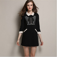 Black Embroidered Sleeve Collared Dress With Pockets