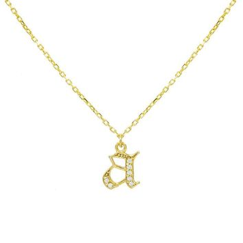 Gothic Initial Pave Necklace