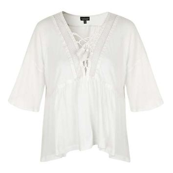 Lace Up Swing Top - Tops - Clothing