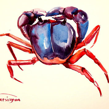 Crab,, Original watercolor painting, 9 X 12 in, blue, red sea animal art, animal painting, crab wall art