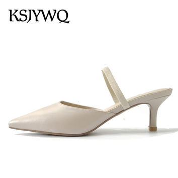 KSJYWQ Women Mules Real leather High Quality Summer Slippers for Woman Shoes 5 cm Thin heels Pointed-toe Shoe Box Packing XJ062