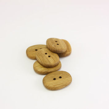 "6 Wooden Buttons- Handmade oak wood buttons- 26mm (1 1/32"")- Natural wood buttons- Oval buttons"