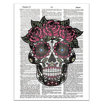 Sugar Skull (#1) Female - Day of the Dead - Halloween - Dictionary Page Art Print, 8x11 UNFRAMED