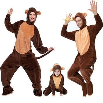 Family Lovers Monkey Cosplay Halloween Animale Costume Winter Adult Children Kids pajamas Masquerade stage show Rave party dress