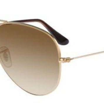 RAY BAN 3025 55 AVIATOR 001/51 GOLD BROWN GRADIENT GOLD BROWN FADED SOLE