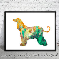 Afghan Hound 2 Watercolor Print, Archival Fine Art Print, Children's Wall, Art Home Decor, dog watercolor, watercolor painting, animal art