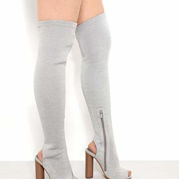 Silver Peep Toe Over The Knee Boots