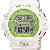 Casio Baby-G Ladies Lap Memory Running Watch - White Resin Strap - Green Accents