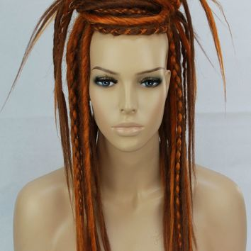 Auburn & Orange Synthetic Dread Falls, Hair Pieces, 20 Inches, Unisex.