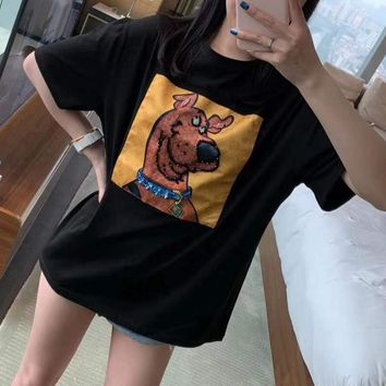 Women's Leisure  Fashion Cartoon Letter Dog Printing Loose Large Size  Short Sleeve Tops
