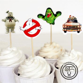 72pcs Ghostbusters stay puft Peter Venkman Dana Barrett candy bar cupcake toppers picks baby shower kids birthday party supply