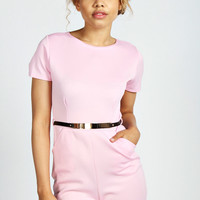 Frances Capped Sleeve Belted Scuba Playsuit