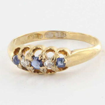 Antique Art Deco 18 Karat Yellow Gold Sapphire Diamond Bridge Ring Vintage Estate Jewelry