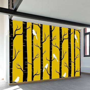 Birch Birds Wall Mural