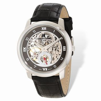 Charles Hubert Mens Stainless Leather Band 40mm Skeleton Dial Watch