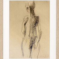 Modern Original charcoal sketch Graphic artwork Contemporary drawing Nude woman Figurative Fine art Home decor Female model Figure