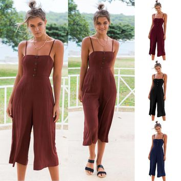 Womens Summer Bandeau Sling Long Jumpsuit Ladies Backless Crop Pants Outfits