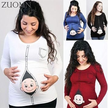 Maternity Funny Baby Loading T Shirts L-5XL Pregnant Women Long Sleeve T Shirt Clothes Tops Tees Pregnancy Wear Clothing YL567