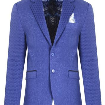 Fitted Brocade Jacket - Sax