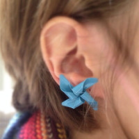 Vintage Blue Windmill Earrings