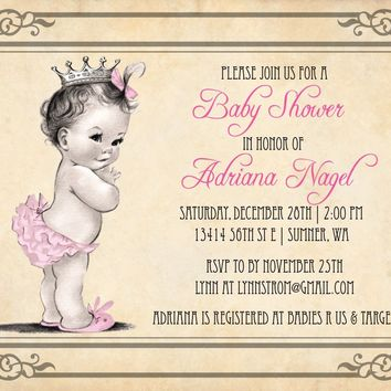 Vintage Princess Baby Shower Invitations