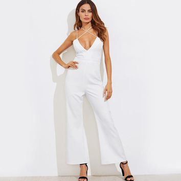 Sexy Strap Cross Cami Jumpsuit Women White Elegant Bell Bottom Jumpsuits