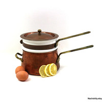 Vintage Double Boiler, Copper, Brass & Ceramic Cooking Pot