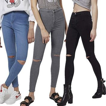 Ripped Holes High Waist Jeans [8069642887]
