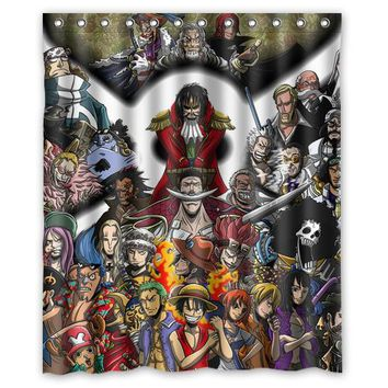 Anime One Piece Logo Custom Made Design Bath Waterproof Shower Curtain Bathroom Products Curtains 48x72, 60x72, 66x 72 inches