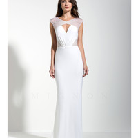 Mignon VM1480B Beaded Cap Sleeve Ivory Gown 2015 Prom Dresses