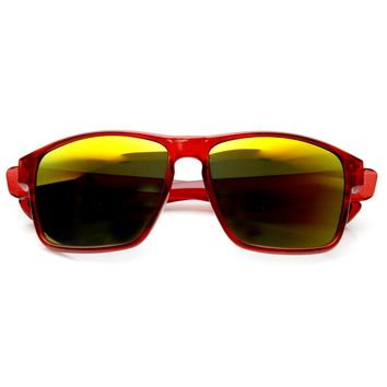 Men's Action Sports Wide Frame Flash Mirror Lens Sunglasses 9332