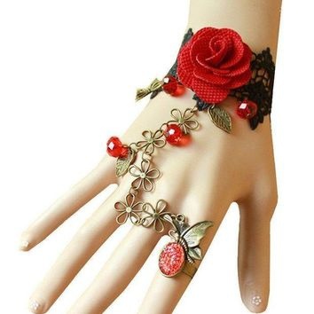 MDIGV2S QTMY Black Lace Adjustable Red Rose Finger Ring Bracelet Jewelry Set Gift for Women Girl