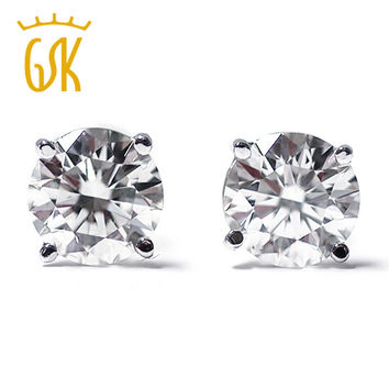 gemstoneking 1/3 ct round cut 14k white gold real diamond stud earrings fine