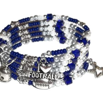 I Love Football Dallas Cowboys Themed Artisan Crafted Adjustable Wrap Bracelet (sz S-M)