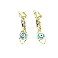 Evil Eye Lever Back 18Kts Gold Plated Earrings