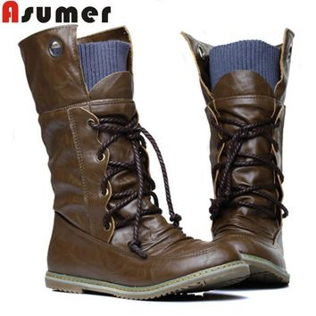 ASUMER 2016 Plus Size Vintage motorcycle ankle boots for women winter autumn snow boot