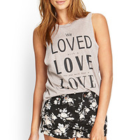 FOREVER 21 Cuffed Floral Denim Shorts